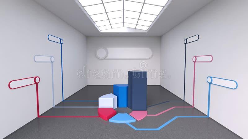 τρισδιάστατο infographics Επιχειρησιακά αντικείμενα όγκου που δίνονται σε ένα μεγάλο φωτεινό δωμάτιο διανυσματική απεικόνιση