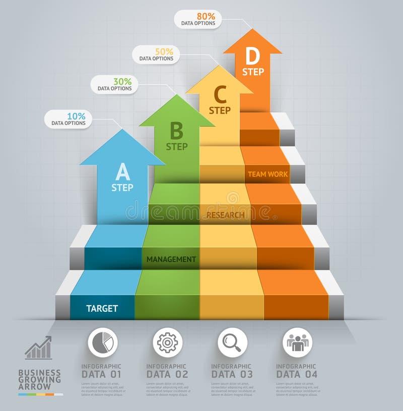τρισδιάστατο infographics σκαλών βημάτων επιχειρησιακών βελών διανυσματική απεικόνιση
