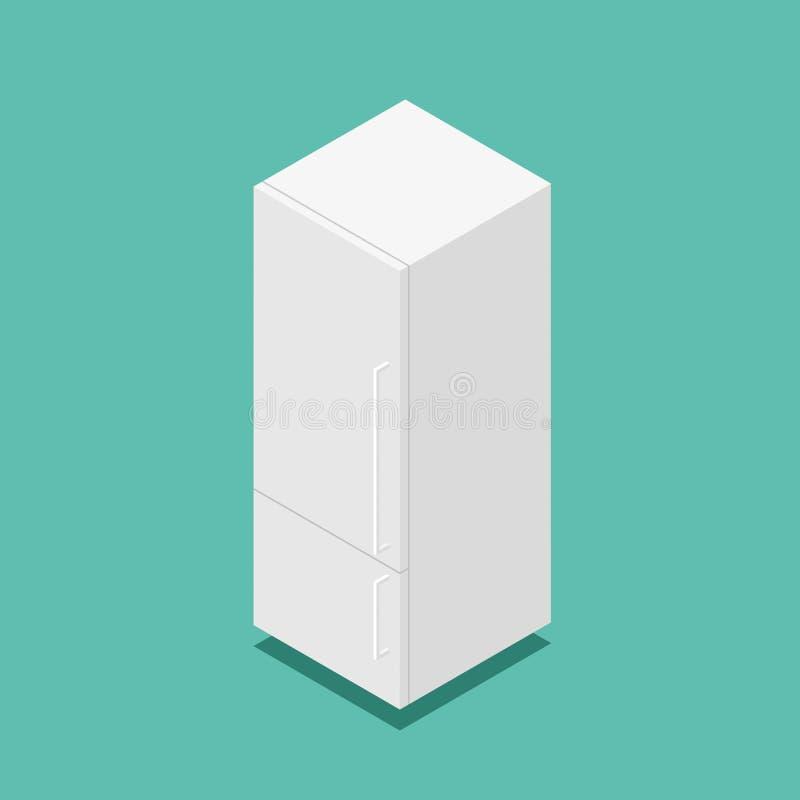τρισδιάστατο isometric διανυσματικό κλασικό άσπρο εγχώριο ψυγείο ελεύθερη απεικόνιση δικαιώματος
