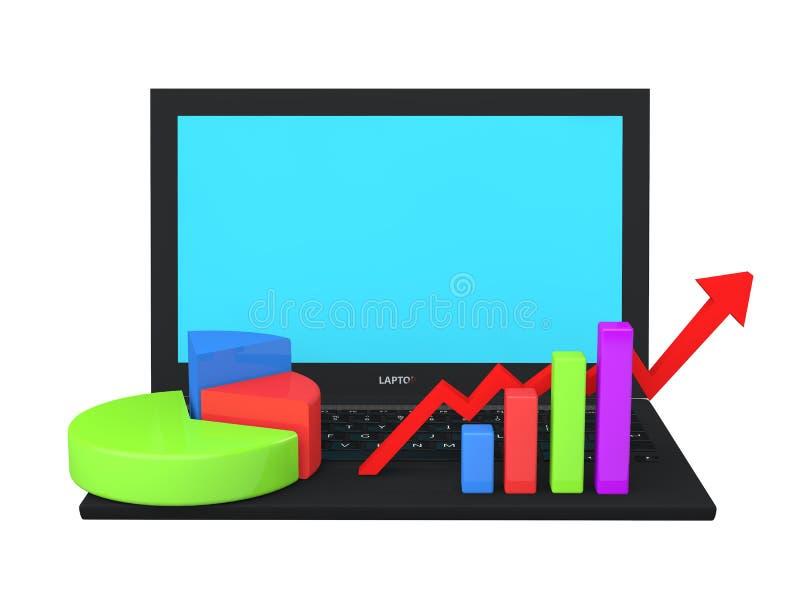 τρισδιάστατο lap-top με τις διαφορετικά γραφικές παραστάσεις και τα διαγράμματα στο πληκτρολόγιο διανυσματική απεικόνιση