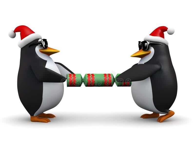 τρισδιάστατο Penguins που τραβά μια κροτίδα Χριστουγέννων απεικόνιση αποθεμάτων