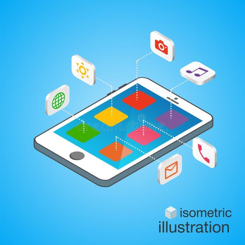τρισδιάστατο Smartphone με τα κινητά εικονίδια εφαρμογής στη isometric προβολή Σύγχρονο infographic πρότυπο απεικόνιση αποθεμάτων