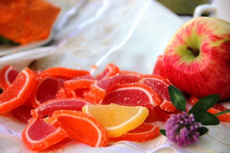 Τριφύλλι, πορτοκαλί φέτες μαρμελάδας και κόκκινο μήλο πικνίκ στη φύση σε πάρκο στοκ εικόνα με δικαίωμα ελεύθερης χρήσης