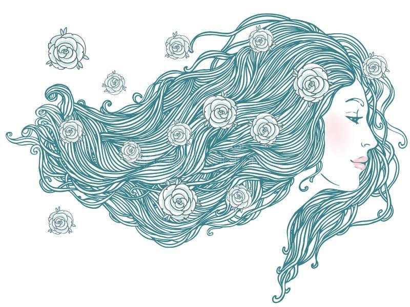τριχώματος μακριές νεολαίες γυναικών πορτρέτου όμορφες διανυσματική απεικόνιση