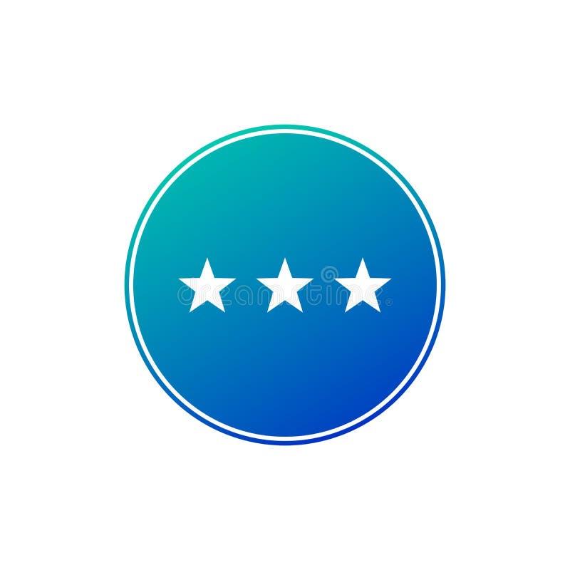 Τριών αστέρων εικονίδιο σημαδιών διαμερισμάτων ξενοδοχείων Σύμβολο θέσεων υπολοίπου ταξιδιού Κουμπί κλίσης κύκλων Σύγχρονη ναυσιπ ελεύθερη απεικόνιση δικαιώματος