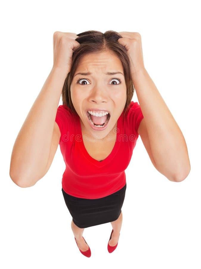 Τρομαγμένη γυναίκα με τη τρομαγμένη έκφραση στοκ φωτογραφίες με δικαίωμα ελεύθερης χρήσης