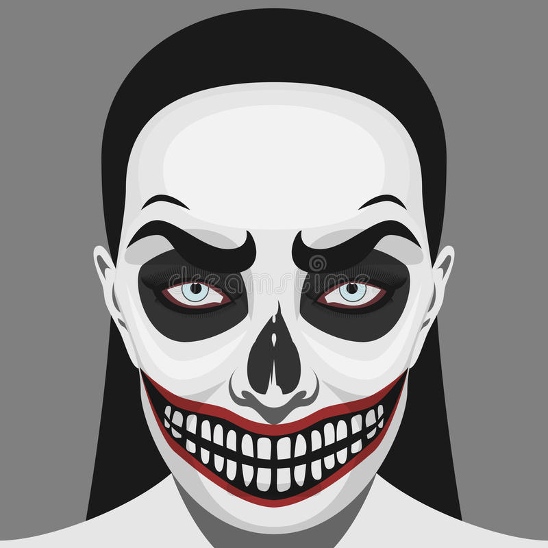 Τρομακτική γυναίκα κρανίων με αποκριές Makeup απεικόνιση αποθεμάτων