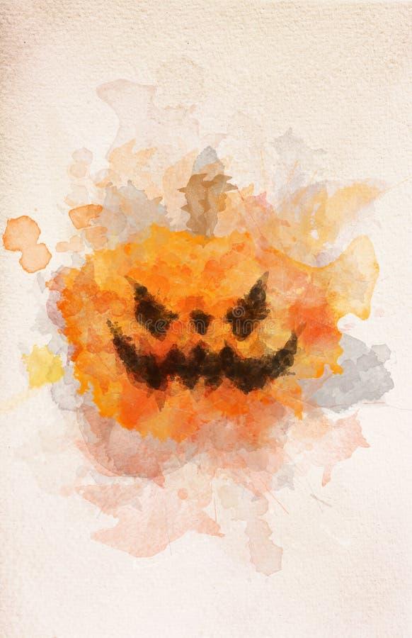 Τρομακτική κολοκύθα αποκριών στη ζωγραφική watercolor απεικόνιση αποθεμάτων