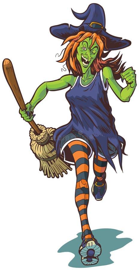 Τρομακτική μάγισσα που τρέχει με την απεικόνιση κινούμενων σχεδίων σκουπών ελεύθερη απεικόνιση δικαιώματος