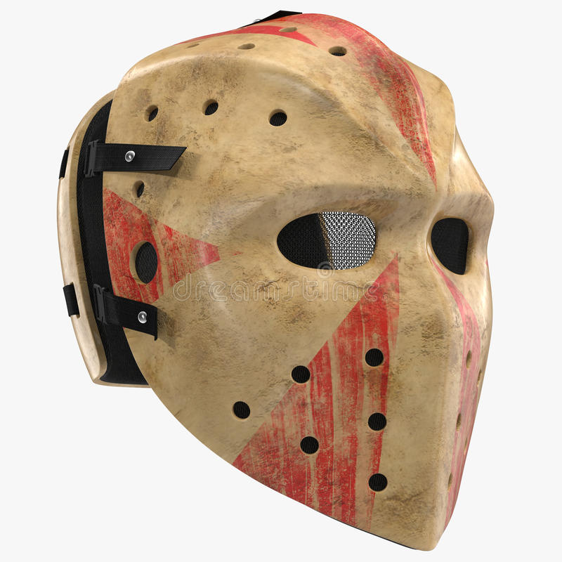 Τρομακτική μάσκα αποκριών χόκεϋ στο λευκό τρισδιάστατη απεικόνιση απεικόνιση αποθεμάτων