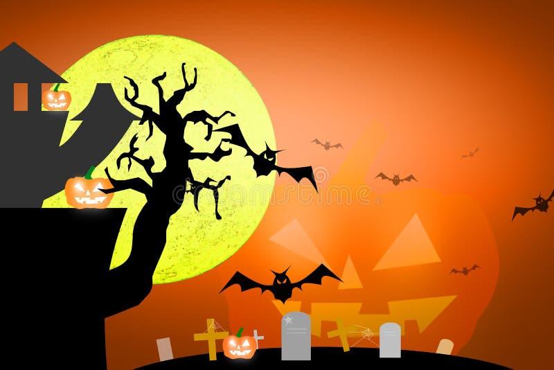 Τρομακτική πανσέληνος αποκριών και νεκρό δέντρο μαζί με μια φρίκη β ελεύθερη απεικόνιση δικαιώματος