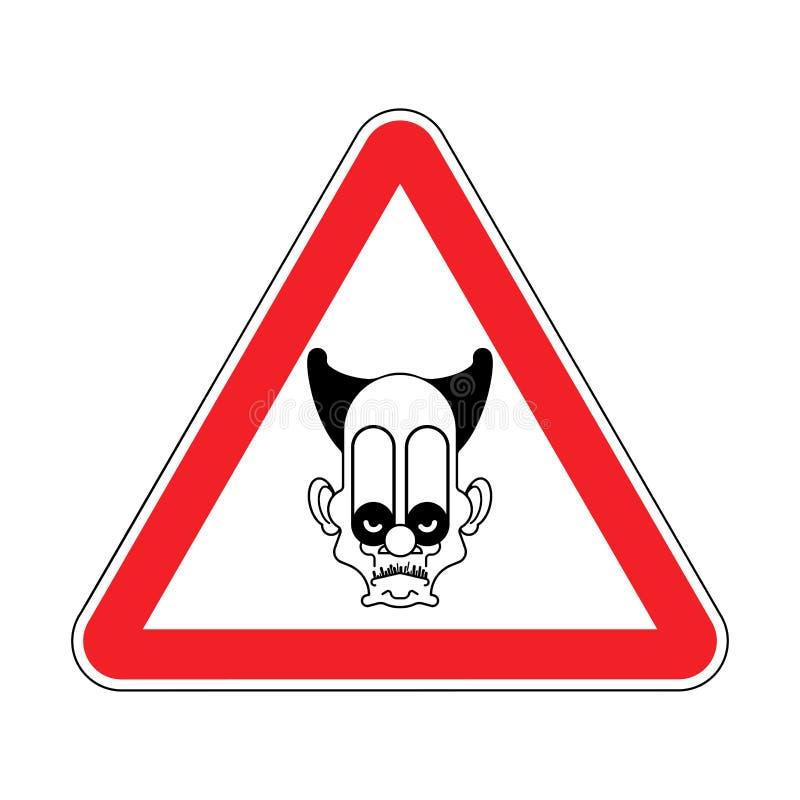 Τρομακτικός κλόουν προσοχής Τσίρκο κινδύνου Κόκκινο οδικό σημάδι προσοχής VE απεικόνιση αποθεμάτων