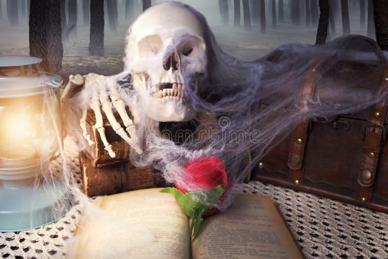 Τρομακτικός πίνακας με ένα βιβλίο στοκ εικόνες με δικαίωμα ελεύθερης χρήσης