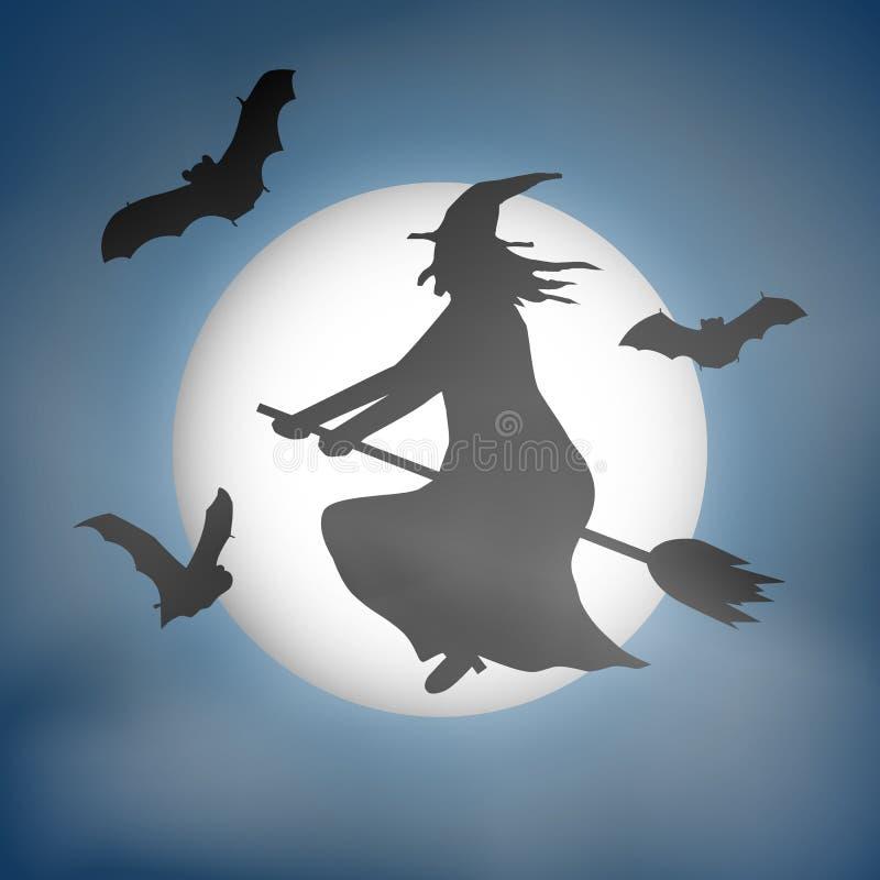 Τρομακτικός το διάνυσμα με μια μάγισσα που πετά μπροστά από μια πανσέληνο ελεύθερη απεικόνιση δικαιώματος