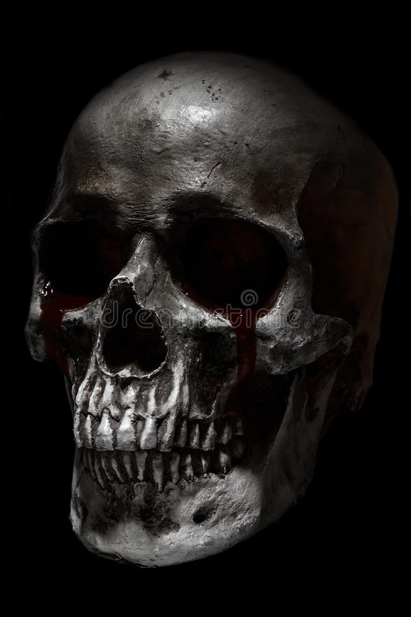 Τρομακτικό ανθρώπινο κρανίο, φωνάζοντας αίμα στοκ εικόνες με δικαίωμα ελεύθερης χρήσης