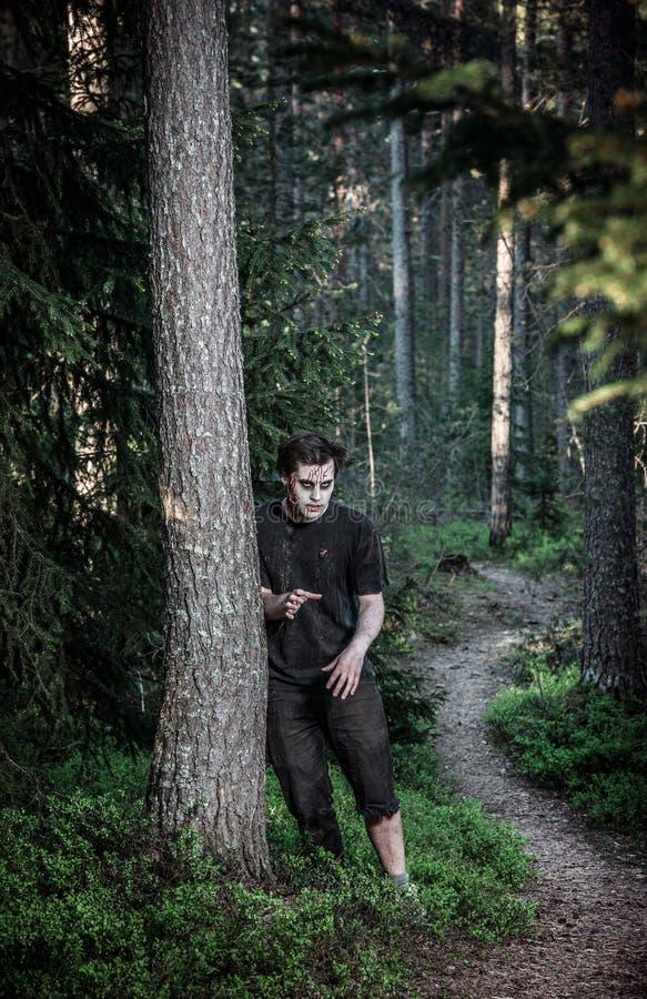 Τρομακτικό και αιματηρό άτομο zombie στοκ φωτογραφία με δικαίωμα ελεύθερης χρήσης