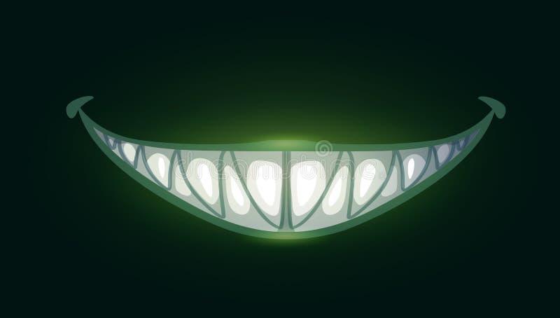 Τρομακτικό κακό χαμόγελο κινούμενων σχεδίων με τα μεγάλα αιχμηρά δόντια διανυσματική απεικόνιση