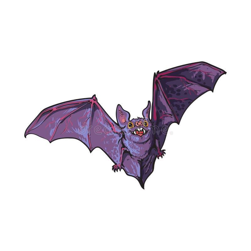 Τρομακτικό πετώντας ρόπαλο βαμπίρ αποκριών, απομονωμένη διανυσματική απεικόνιση ύφους σκίτσων ελεύθερη απεικόνιση δικαιώματος