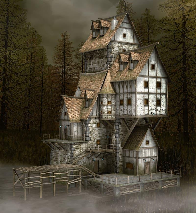 Τρομακτικό στοιχειωμένο σπίτι δίπλα σε λίμνη ελεύθερη απεικόνιση δικαιώματος