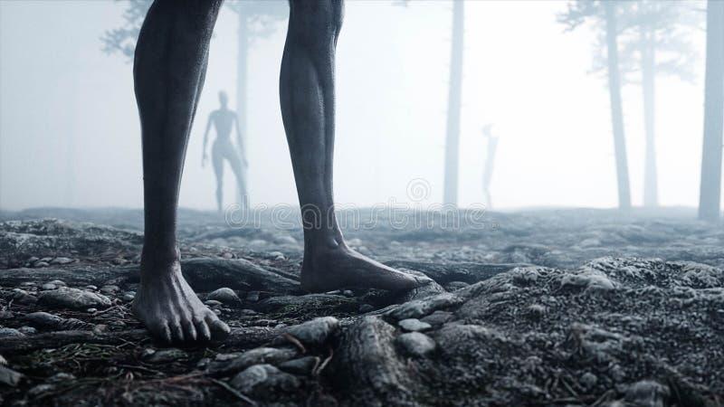 Τρομακτικό τέρας στο δασικούς φόβο και τη φρίκη νύχτας ομίχλης Έννοια Mistic και ufo τρισδιάστατη απόδοση διανυσματική απεικόνιση