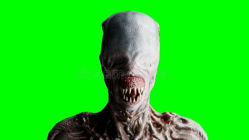 Τρομακτικό, τέρας φρίκης Έννοια φόβου η πράσινη οθόνη, απομονώνει τρισδιάστατη απόδοση διανυσματική απεικόνιση