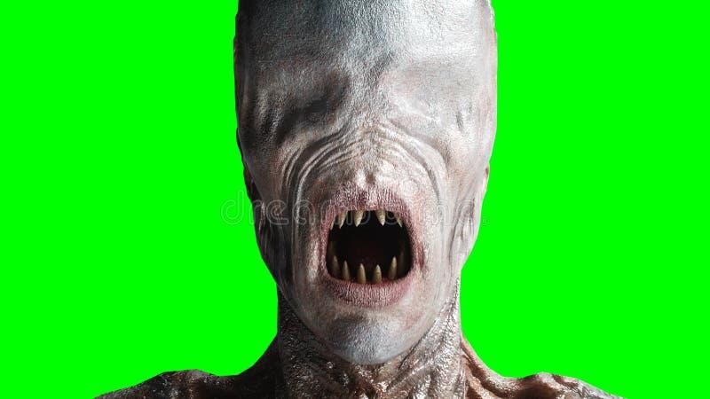 Τρομακτικό, τέρας φρίκης Έννοια φόβου η πράσινη οθόνη, απομονώνει τρισδιάστατη απόδοση απεικόνιση αποθεμάτων