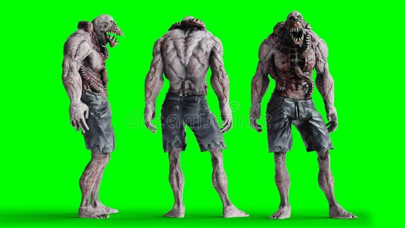 Τρομακτικό, τέρας φρίκης Έννοια φόβου η πράσινη οθόνη, απομονώνει τρισδιάστατη απόδοση ελεύθερη απεικόνιση δικαιώματος