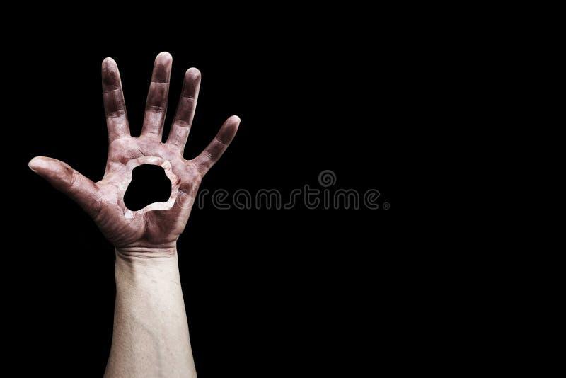 Τρομακτικό χέρι με την τρύπα στοκ εικόνες