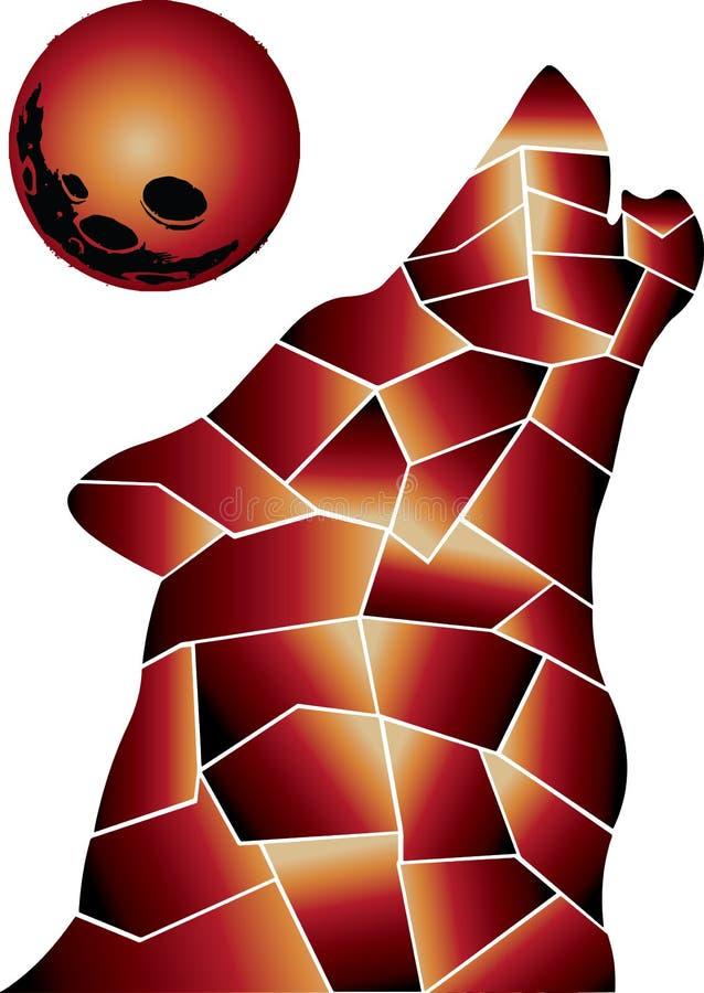 Τρομερά καυτά χρώματα πυρκαγιάς Λύκος ελεύθερη απεικόνιση δικαιώματος