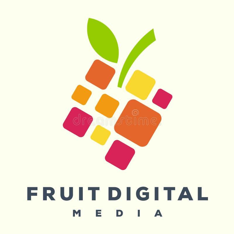 Τρομερό ψηφιακό λογότυπο φρούτων ελεύθερη απεικόνιση δικαιώματος