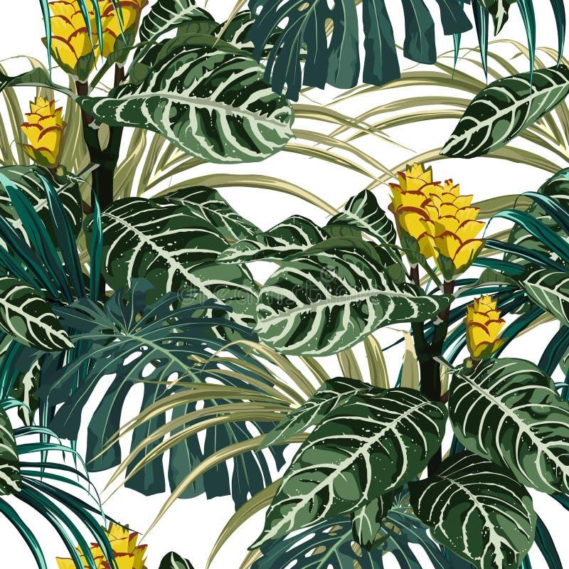 Τροπικά εξωτικά τρυφερά καλά κίτρινα λουλούδια, φύλλα monstera φοινικών, πράσινο floral θερινό άνευ ραφής σχέδιο διανυσματική απεικόνιση
