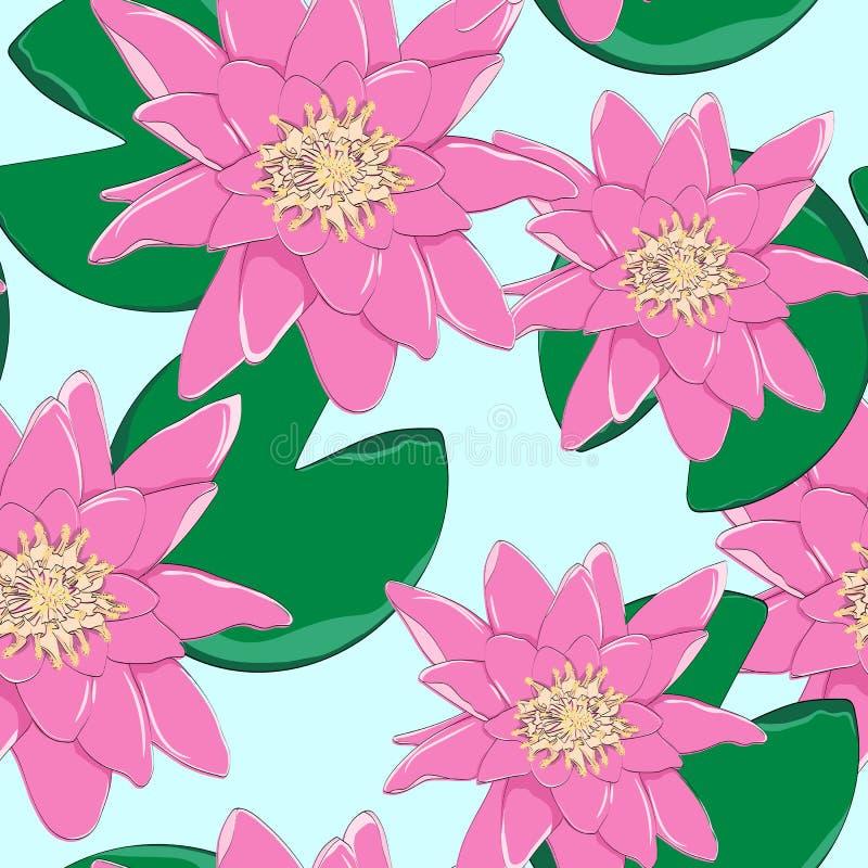 Τροπικά λουλούδια, φύλλα, ρόδινος λωτός, άνευ ραφής floral υπόβαθρο σχεδίων απεικόνιση αποθεμάτων