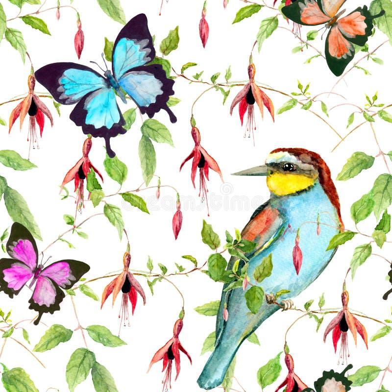 Τροπικά λουλούδια, εξωτικό πουλί και φωτεινές πεταλούδες floral πρότυπο άνευ ραφής watercolour ελεύθερη απεικόνιση δικαιώματος