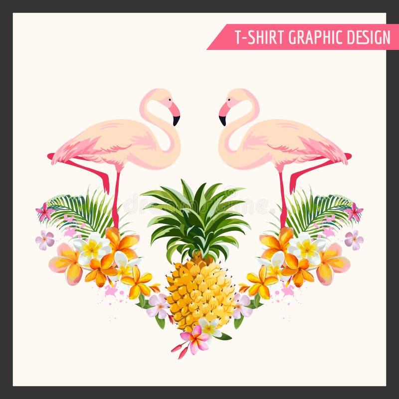 Τροπικά λουλούδια και γραφικό σχέδιο φλαμίγκο ελεύθερη απεικόνιση δικαιώματος