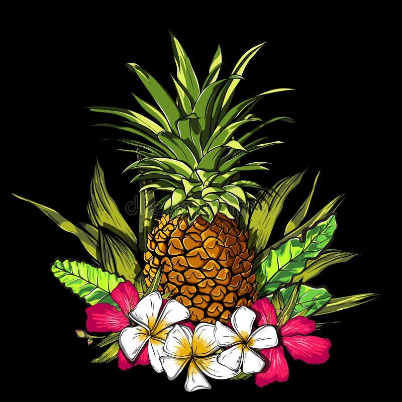 Τροπικά λουλούδια, φύλλα ζουγκλών, λουλούδι παραδείσου Όμορφο άνευ ραφής διανυσματικό floral υπόβαθρο σχεδίων, εξωτική τυπωμένη ύ ελεύθερη απεικόνιση δικαιώματος