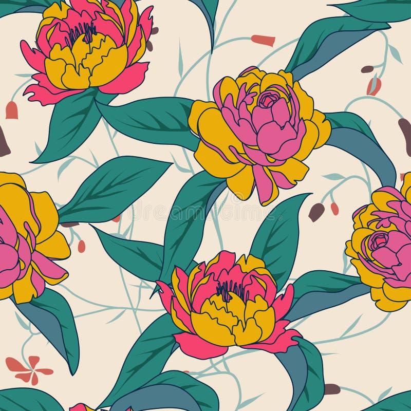 Τροπικά λουλούδια, φύλλα, λουλούδι πουλιών του παραδείσου διανυσματική απεικόνιση