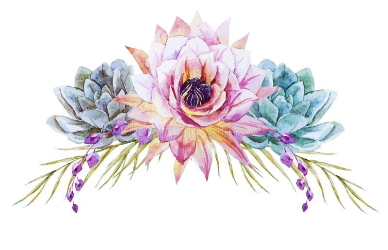 Τροπικά λουλούδια Watercolor διανυσματική απεικόνιση