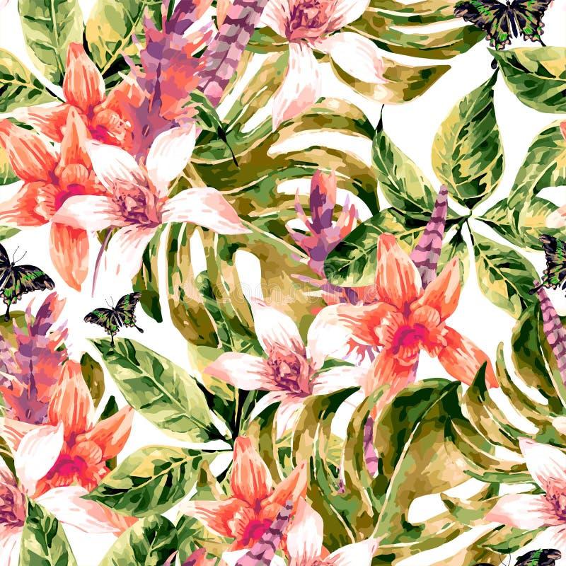 Τροπικά πράσινα φύλλα σχεδίων Watercolor διανυσματικά άνευ ραφής απεικόνιση αποθεμάτων