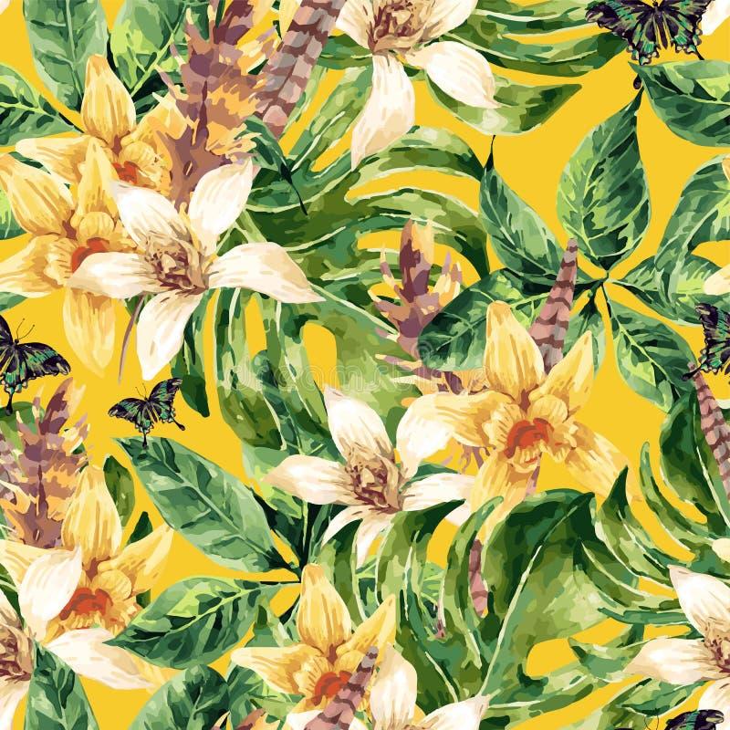 Τροπικά πράσινα φύλλα σχεδίων Watercolor διανυσματικά άνευ ραφής ελεύθερη απεικόνιση δικαιώματος