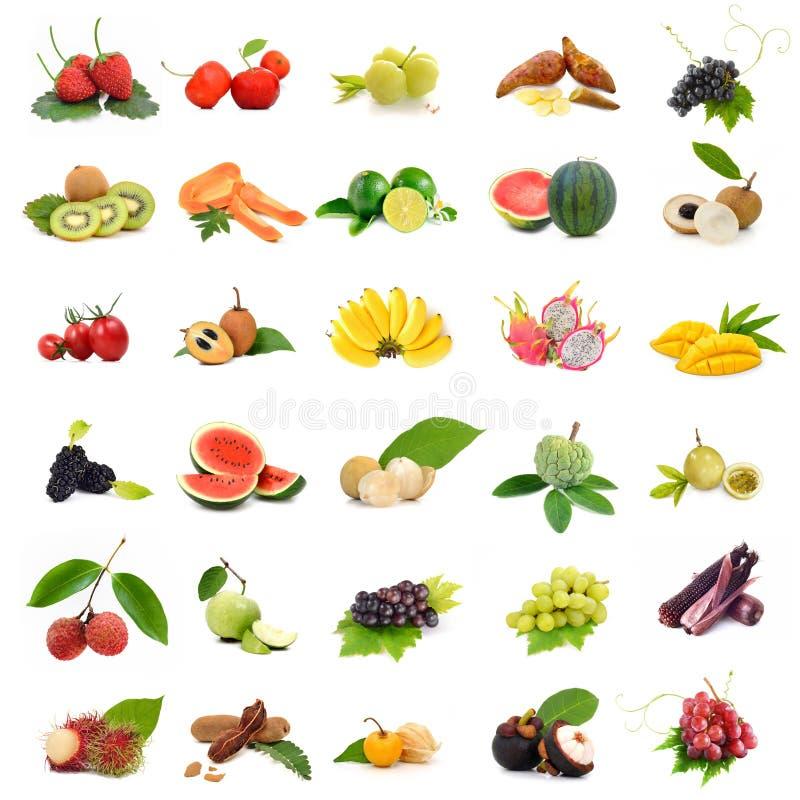 Τροπικά φρούτα της Ασίας, φρούτα συλλογής που τίθενται στο άσπρο υπόβαθρο στοκ εικόνα
