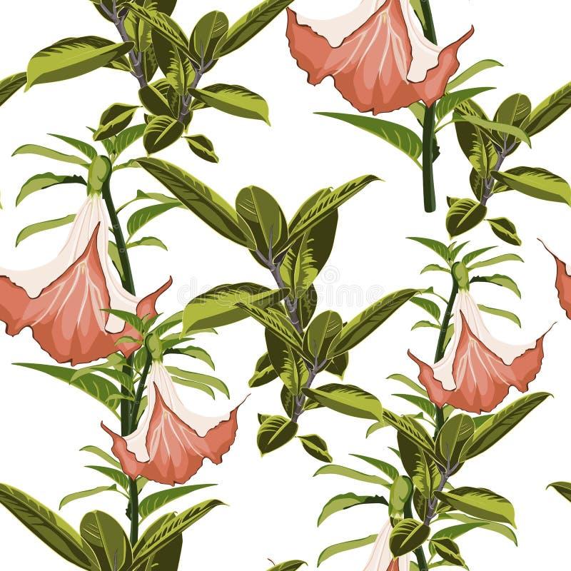 Τροπικά φυτά, εξωτικά λουλούδια και άνευ ραφής σχέδιο φύλλων σε ένα άσπρο υπόβαθρο επίσης corel σύρετε το διάνυσμα απεικόνισης Τρ διανυσματική απεικόνιση
