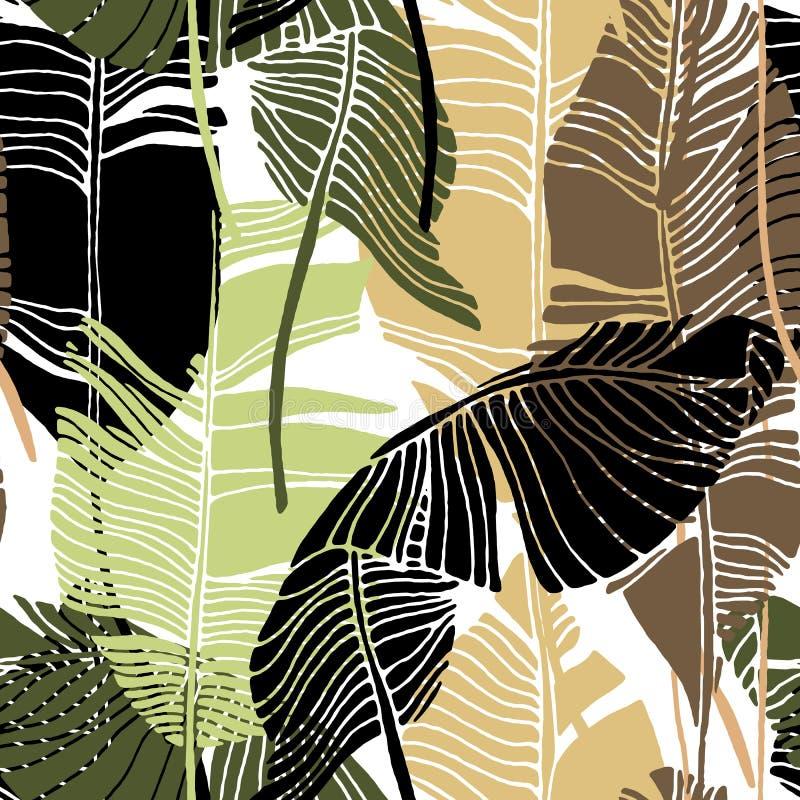Τροπικά φύλλα, σχέδιο ζουγκλών Άνευ ραφής, λεπτομερές, βοτανικό σχέδιο Διανυσματική ανασκόπηση απεικόνιση αποθεμάτων