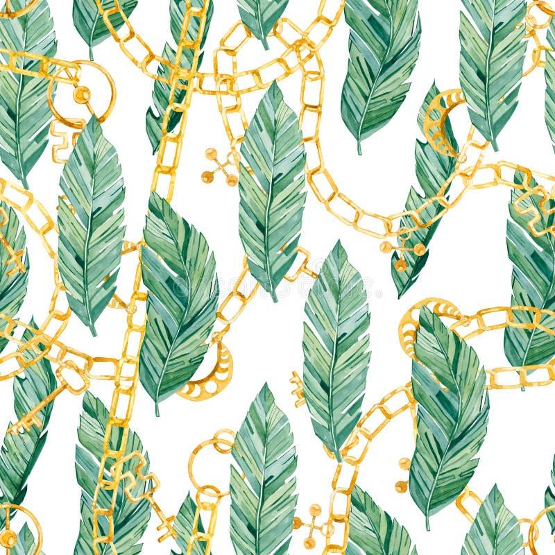 Τροπικά φύλλα σχεδίων Watercolor άνευ ραφής και χρυσή αλυσίδα, κόσμημα απεικόνιση αποθεμάτων
