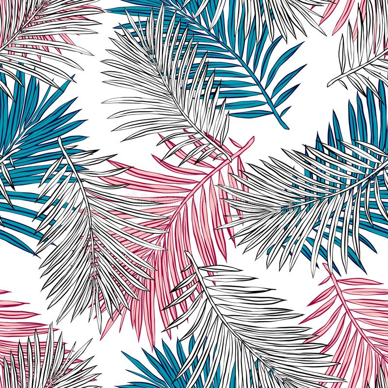 Τροπικά φύλλα φοινικών, άνευ ραφής διανυσματικό floral υπόβαθρο σχεδίων φύλλων ζουγκλών διανυσματική απεικόνιση