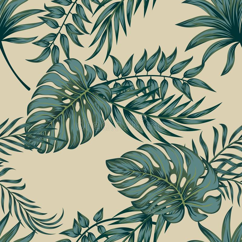 Τροπικά φύλλα φοινικών, άνευ ραφής διανυσματικό floral υπόβαθρο σχεδίων φύλλων ζουγκλών ελεύθερη απεικόνιση δικαιώματος
