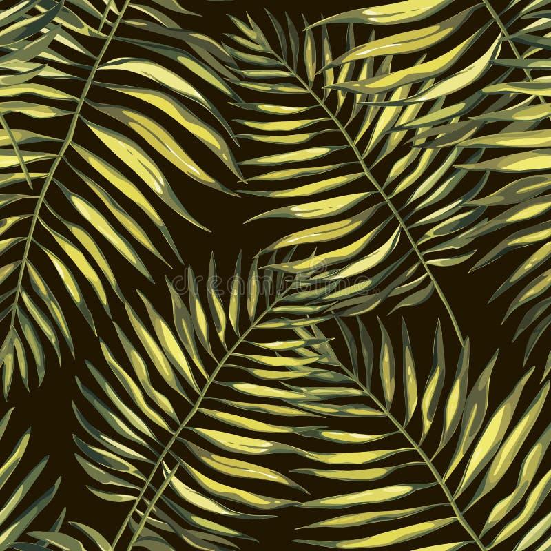 Τροπικά φύλλα φοινικών illustratiobs Φύλλα ζουγκλών που απομονώνονται στο άσπρο υπόβαθρο Άνευ ραφής σχέδια διανυσματική απεικόνιση