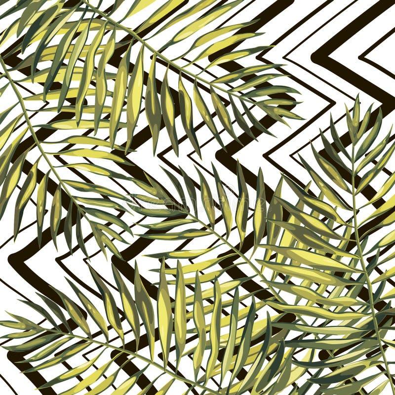 Τροπικά φύλλα φοινικών illustratiobs Φύλλα ζουγκλών που απομονώνονται στο άσπρο υπόβαθρο Άνευ ραφής σχέδια απεικόνιση αποθεμάτων