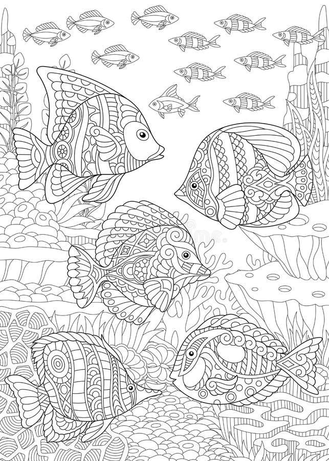 Τροπικά ψάρια Zentangle ελεύθερη απεικόνιση δικαιώματος