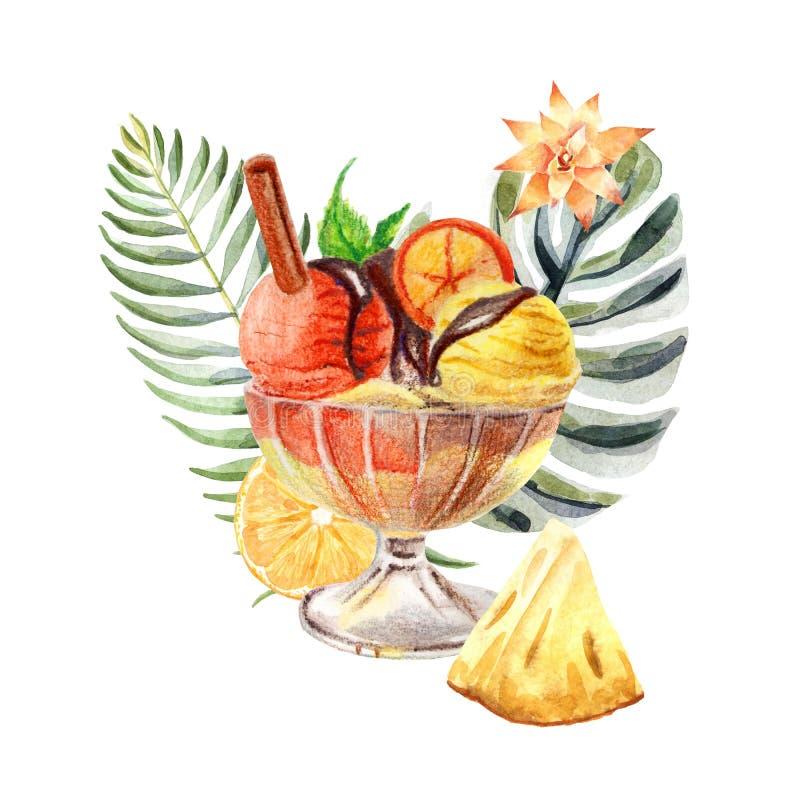 Τροπική απεικόνιση Watercolor με το παγωτό, τα φρούτα και τα λουλούδια απεικόνιση αποθεμάτων