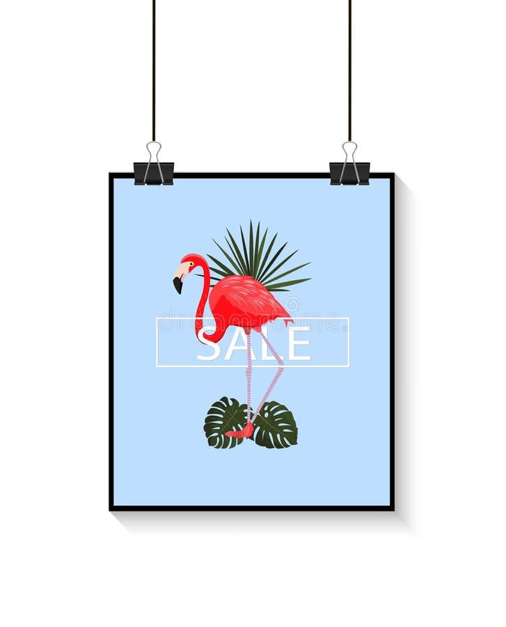 Τροπική αφίσα θερινής πώλησης επίσης corel σύρετε το διάνυσμα απεικόνισης Μπλε υπόβαθρο με το φλαμίγκο και τα τροπικά φύλλα πουλί διανυσματική απεικόνιση